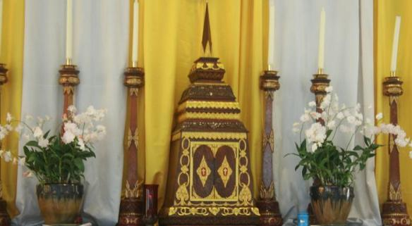 At Assumption Church in Phuket, Thailand: the tabernacle looks like a chedi (เจดีย์, stupa)