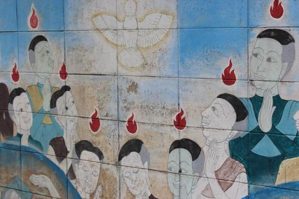 Pentecost: mural on a lane in Sampran, Thailand