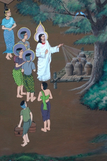 The Wedding at Cana: mural at the Chapel of Father Ray at the Redemptorist Center in Pattaya, Thailand